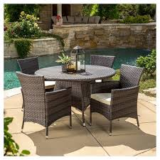 5 Pc Patio Dining Set Rodgers 5pc Wicker Patio Dining Set With Cushions Brown