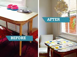 brilliant ideas for upcycling with wallpaper pillar box blue