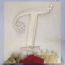 pearl monogram cake topper monogram cake topper ivory pearl wedding cake topper monogram