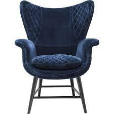 Esszimmer Ohrensessel Sessel Tudor Blau Velvet Kare Design