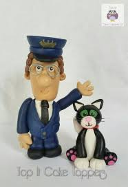 postman pat cake topper black white cat jess
