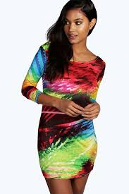 coloured dress boohoo multi coloured slinky bodycon dress where to buy