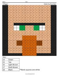 villager color by number coloring squared