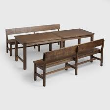 Long Table With Bench Distressed Brown Wood Gulianna Extra Long Dining Bench World Market