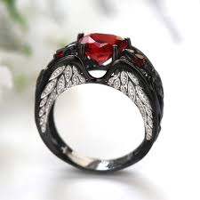 black ruby rings images Vancaro ruby heart black angel wing ring for women jpg