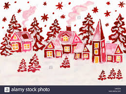 Landscape With Houses by Hand Drawn Christmas Picture Winter Landscape With Houses In