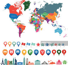 Vector World Map World Map Kit With Landmarks And Gps Icons Vector Art Getty Images