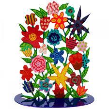 yair emanuel laser cut metal flower bouquet sculpture christian