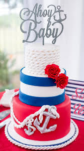 nautical baby shower ahoy baby cake topper baby shower cake
