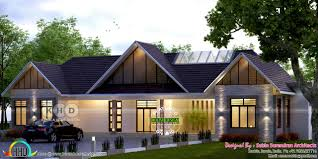 single floor sloping roof 4 bedroom home kerala home design and
