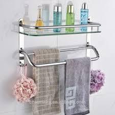 Glass Bathroom Shelf With Towel Bar Stainless Steel Bathroom Towel Rack Towel Shelf With Hooks Hotel