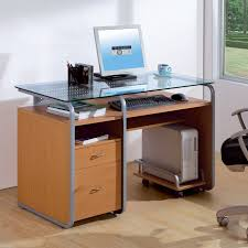 Glass Top Computer Desks by Rectangular Glass Top Computer Desk With Cast Iron Frame Of