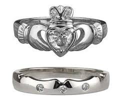 claddagh wedding ring white gold claddagh diamond wedding set