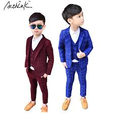 boys light blue suit acthink 2017 new 3pcs kids plaid wedding blazer suit brand flower