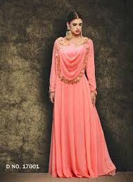 gowns for wedding georgette ethnic pink gowns for wedding and pink rs 1895