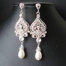 Vintage Pearl Chandelier Earrings Rhinestone Chandelier Bridal Earrings Vintage Style Pearl Wedding