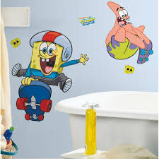 spongebob wall decals roselawnlutheran new giant spongebob skateboarding wall decals bedroom stickers decor great gifts ebay