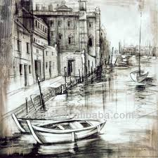 classical sketching scenery canvas venice landscape painting
