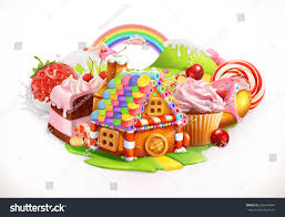 sweet house confectionery desserts 3d vector stock vector