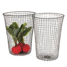 wire waste paper bin set of 2 26x36cm grand illusions