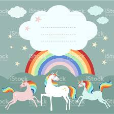 fairy unicorn birthday party greeting card invitation with rainbow