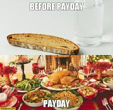 table full of food before payday only bread and water payday table full of food