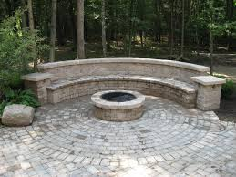 backyard brick patio design with seating wall and fire pit plan no