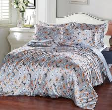 reactive printing butterfly satin silk duvet cover bed sheet