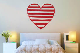 Heart Wall Stickers For Bedrooms Striped Heart Cut It Out Wall Stickers Uk And Art Decals Cut It