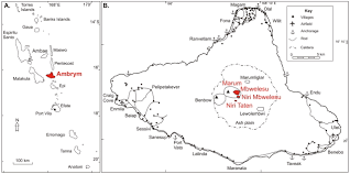 Vanuatu Map Volcanic Craters Pit Craters And High Level Magma Feeding Systems