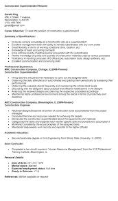 Resume Template Samples Construction Superintendent Resume Templates Sample Construction