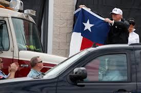 Car Window Flags Trump Offers Flag Waving Optimism In Visit To Harvey U0027s Path