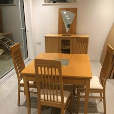 Solid Beech Dining Table X  Chairs Sideboard And Mirror In - Beech kitchen table