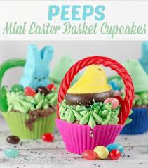 peeps easter basket peeps easter cupcakes create mini easter basket cupcakes