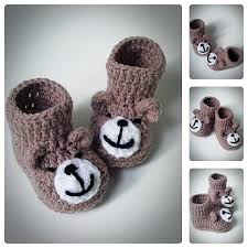 crochet teddy baby booties knitted baby shoes booties