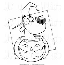 clip art of a coloring page of a halloween witch dog in pumpkin by