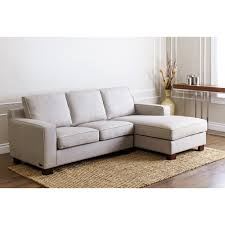 light gray canvas fabric sectional sofa with chaise longe and