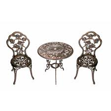 Cast Iron Patio Table And Chairs by Oakland Living Rose 3 Piece Patio Bistro Table Set 3705 Ab The
