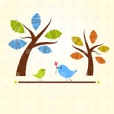 two stylized cartoon trees and two birds vector clipart image