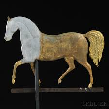 Horse Weathervane On Stand J Howard Gilt Cast Zinc And Molded Copper