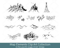 Map Symbols Hand Drawn Doodle Map Elements Symbols Mountain Clip Art