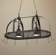 kitchen island pot rack lighting rustic style kitchen design with 2 light hanging pot rack