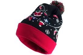 beanie with led lights capelli light up christmas hat santa clothes led lights cuff pom