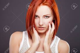 woman with short hair red hair beautiful woman with short hair stock photo picture and