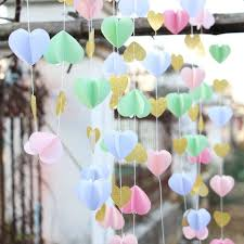 wedding reception supplies 2pcs pink gold paper heart garland diy wedding curtain