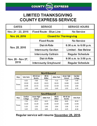 county express has modified thanksgiving week schedule benitolink