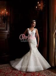 sleeveless organza v neck mermaid wedding dress with illusion lace