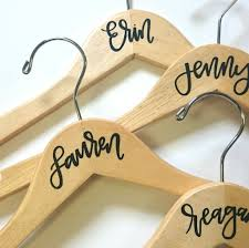 personalized calligraphy hangers wedding bags
