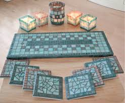 mosaic tile tray coasters candle holders my mosaic tile