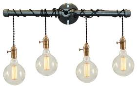 Industrial Bathroom Vanity Lights With A Glass Shade Houzz - Bathroom vanity light with shades